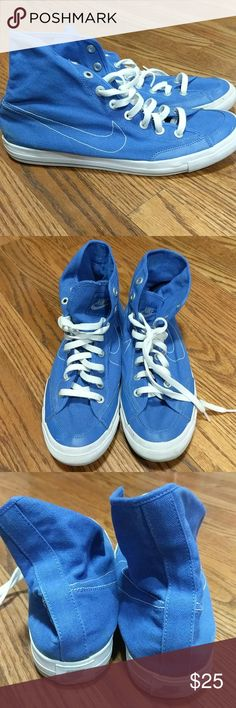 Nike Go Mid Canvas Mens shoes Nike Royal Blue go mid canvas high top shoes. White stitching for the Nike swoosh. Some staining as seen in the pics, on the right heel. 🌟Smoke free home 🌟No trades 🌟1111 Nike Shoes Athletic Shoes