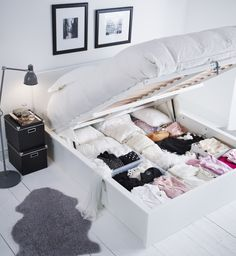 The MALM storage bed has room for you on top, and lots of your things underneath.