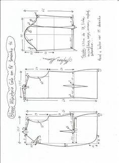 Esquema de modelagem de blazer alfaiataria com gola em pé tamanho 46.