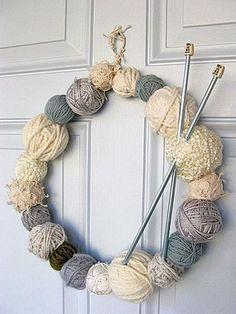 yarn wreath featuring wintry cream tones, Creative Wreath Ideas for Christmas, http://hative.com/creative-wreath-ideas-for-christmas/,
