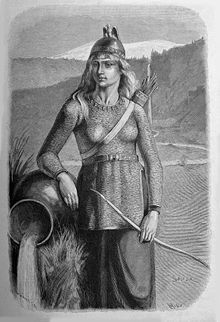 In Norse mythology, Skaði is a jötunn and goddess associated with bow hunting, skiing, winter, and mountains. In all sources, Skaði is the daughter of the deceased Þjazi, and Skaði married the god Njörðr as part of the compensation provided by the gods for killing her father Þjazi, however the marriage was unhappy.  In both the Poetic Edda and the Prose Edda, Skaði is responsible for placing the serpent that drips venom onto the bound Loki.