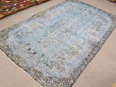 Vintage Oushak Handmade Pale ICE BLUE Color Overdyed RUG , Soft Pastel  patterned rug