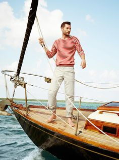 John Halls Models Nautical Styles for Simons Summer 2014 Look Book image john Nautical Outfits, Nautical Fashion, Nautical Style, Nautical Clothing, Mode Masculine, Men Looks, Segel Outfit, Fashion Moda, Mens Fashion
