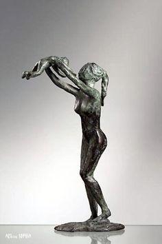 Designer Statue Athlete Muscles Sculpture Copper 65 cm Modern Pose Office
