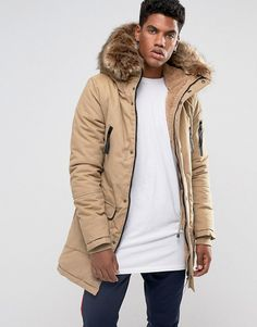 Sixth June Parka Jacket In Pink With Extreme Faux Fur Hood for men