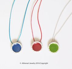 Color silver necklace /red siver necklace/color by AthenArt Greek Jewelry, Everyday Necklace, My Design, Give It To Me, Enamel, Jewelry Design, Pendant Necklace, Chain