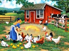 Bits and Pieces - 300 Piece Jigsaw Puzzle - Gather Round, Chickens on The Farm - by Artist John Sloane - 300 pc Jigsaw in Jigsaw Puzzles. Photo Vintage, Vintage Art, Country Art, Country Life, Farm Pictures, Farm Art, Country Scenes, Naive Art, Beautiful Paintings