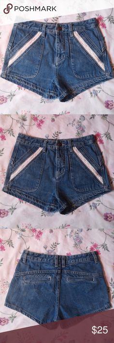 Free People High Rise Denim Shorts Lace Perfect condition. Size 24. Send OFFER :D If you have any questions please leave a comment :) Free People High Rise Demin.  Lace Trim Detail on slanted pocket design. Free People Shorts Jean Shorts