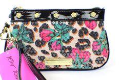 Betsey Johnson Designer Rose Bud Safari Wristlet ~ Pink Gold Black Patent