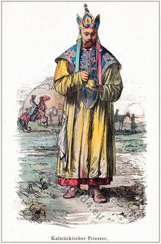 Mongolia Nomadic Kalmyk priest. [Franz Lipperheide, 1876-1887]