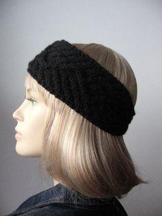 Black Headband Cabled Knit Headband Black Earwarmer by KnitsByNat