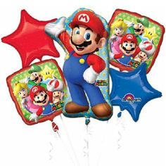 ☆SUPER MARIO-ANAGRAM-BALLOONS-MYLARS-BOUQUET-PACKAGED-QUANTITY=1 PACKAGE-NR☆ #Anagram #BirthdayChild