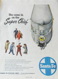 Super Chief train Santa Fe Railway Railroad ad by DustyDiggerLise, $8.00
