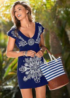 Get carried away with this trendy beach bag! Venus stripe canvas tote and Venus print dress.