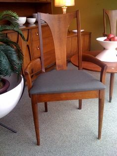 Broyhill Brasilia dining chair with grey fabric. - this looks like my grandparent's dining chairs! Must check!