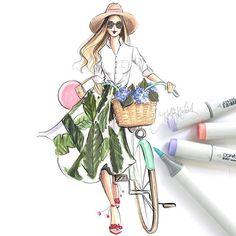 WEBSTA @ hnicholsillustration - The hydrangea hunt  find her on Etsy, hnillustration.etsy.com (or click link in bio) #fashionsketch #fashionillustration #fashionillustrator #boston #bostonblogger #bostonillustrator #copic #copicmarkers #copicart #hnicholsillustration #hydrangeas #palmleaves #bananaleaf