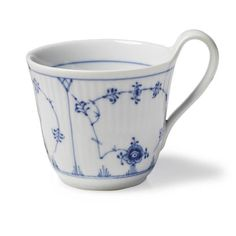 Royal Copenhagen Blue Fluted Plain High handle mug 33 cl Royal Copenhagen, Porcelain Mugs, Fine Porcelain, Love Blue, Blue And White, Danish Design, Tea Mugs, Mug Cup, Mugs