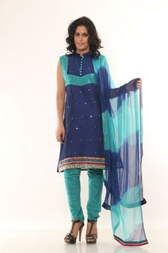 Purchanse this Sparkling Navy Blue Cotton Salwar Kameez with Chiffon Dupatta @ Rs1,499.00 Only
