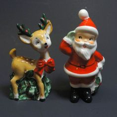 Lefton Santa & Reindeer Christmas Salt & Pepper Shakers