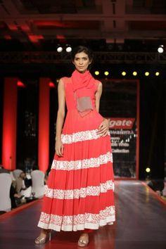 manish malhotra red white lace long dress via IndianWeddingSite.com