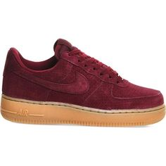 NIKE Air force one trainers ($115) ❤ liked on Polyvore featuring shoes, sneakers, nike, deep garnet suede, nike shoes, round toe shoes, genuine leather shoes, leather lace up sneakers and nike footwear