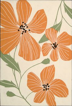 Tropical Tangerine Poppies ~ Area Rug