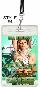 GRAND THEFT AUTO VIP PASSES WITH LANYARDS
