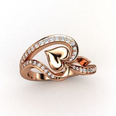 14K Rose Gold Ring with Diamond & Diamond  - lay_down
