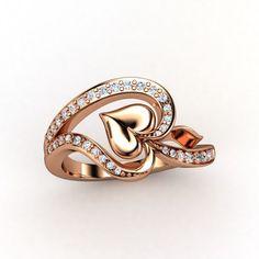 14K Rose Gold Ring with Diamond & Diamond - lay_down