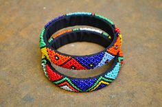 Pair of African cuff bracelets beaded traditional by akwaabaAfrica