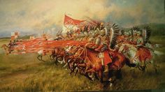 """Mirosław Szeib's """"Charge of Hussars"""", Battle of Vienna, [[MORE]] This painting depicts Polish Winged Hussars taking part in the largest known cavalry charge in history during the Battle of. Battle Of Tours, Battle Of Vienna, Fall Of Constantinople, The Turk, Military History, Middle Ages, Illustrators, Medieval, Wings"""