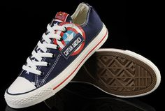 Limited Edition Blue Captain America Converse low tops.