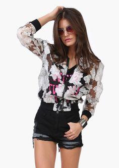 White flower patchwork slim jacket