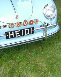 I'll never forget that little green bear I named Heidi. This picture reminded me of that bear. Heidi Klum, Countryside Fashion, Vintage Porsche, Vintage Cars, Green Bear, Swiss Miss, Alpine Style, Cute Cars, Europe