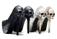 10 Gothic Wedding Shoes for a Gothic Bride 10 Gorgeous Gothic Shoes for a Gothic Bride! Black Macabre Skull Purgatory Pumps for a Goth Wedding - www. Gothic Shoes, Gothic Dress, Gothic Lolita, Goth Wedding Dresses, Halloween Wedding Dresses, Annabel Lee, Skull Wedding, Corpse Bride Wedding, Black Veil Wedding
