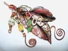 Handmade beaded jewelry - mixed media leaves