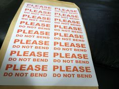 16   PLEASE DO NOT BEND    LABELS LARGE  STICKERS PER A4 SHEET FREE POST  #hobbs…