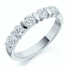 18ct white Gold 1 Carat round Diamond half Eternity Ring