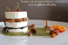 Timbal de queso fresco de oveja con confituras de setas