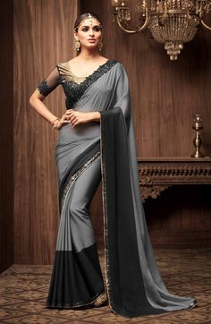 Buy latest saree designs, designer indian outfits like fashion saree. Order this elite black and grey shaded saree for festival, party and wedding. Black Net Saree, Grey Saree, Lace Saree, Silk Sarees, Saris, Saree Designs Party Wear, Party Wear Sarees, Saree Blouse Designs, Net Saree Designs