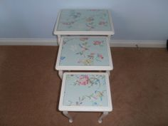 NEST OF TABLES WITH CATH KIDSTON GREEN BIRDS AND ROSES WALLPAPER UNDER GLASS TOP