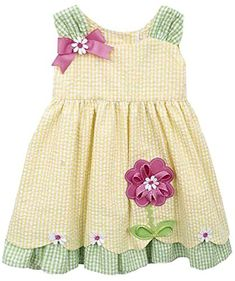 Rare Editions Baby-girls Yellow/Lime Seersucker Dress with Diaper Cover Months). Fabric and Grosgrain Ribbon Flower Applique. Girls Short Dresses, Toddler Girl Dresses, Little Girl Dresses, Toddler Outfits, Stylish Clothes For Girls, Baby Girl Christmas Dresses, Dress Anak, Girls Fall Outfits, Baby Dress Design