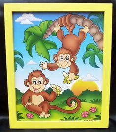 detské obrázky na stenu malovane opicky opice afrika. 249,-  Kč eshop www.soly.cz