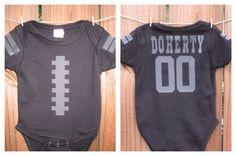 Personalized Black Baby Football Onesie by BlessedBlindSheep