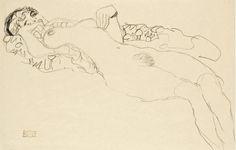 Gustav Klimt - Reclining Nude - c.1915