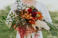 This fall bouquet might be my favorite! Texture, color, design- orchids, pampas, dahlias, pepperberry. Photo by @hannahkrausphotography
