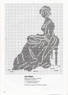 0 point de croix monochrome brodeuse de dentelle - cross stitch lace maker woman