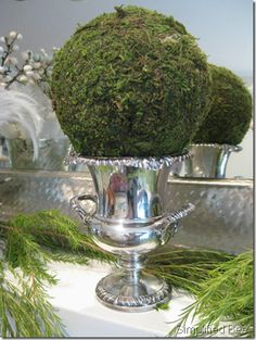 Moss ball in silver champagne bucket