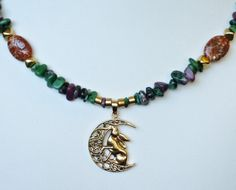 Moon Gazer - necklace and earrings set, Ruby in Zoisite, Red Fossil Coral, solid brass, Bronze Moon Gazing Hare Pendant