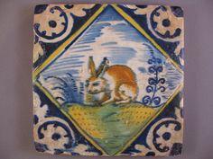 Antique polychrome Dutch Delft tile hare rare tiles 17th-c